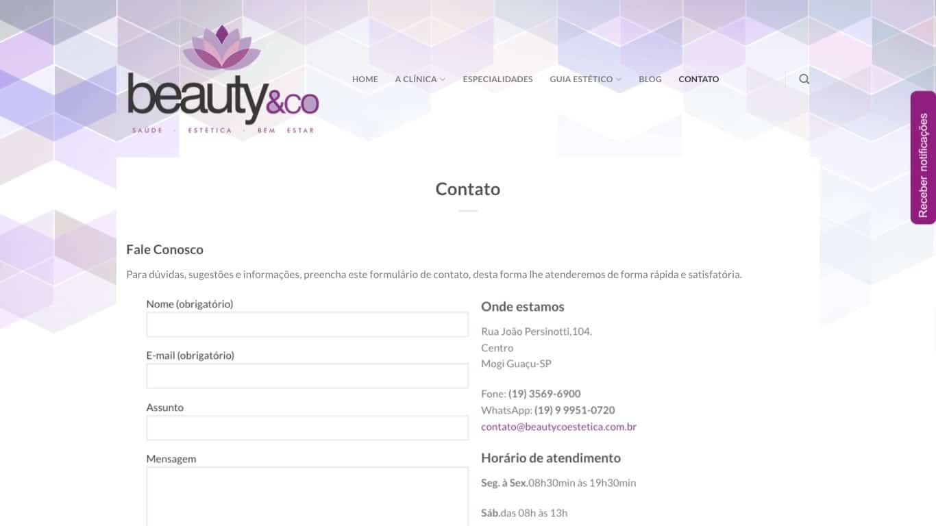 contato beautyco estetica desktop
