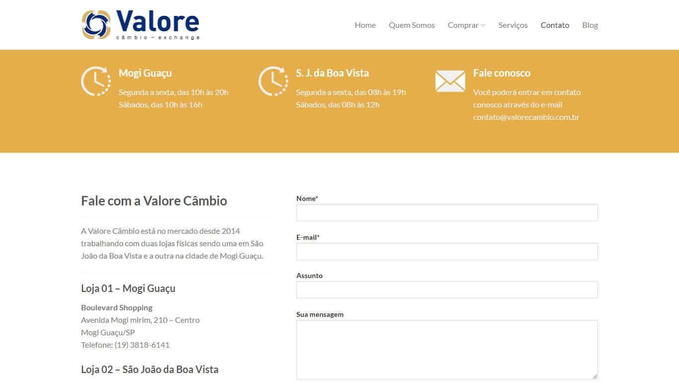 contato valore cambio desktop