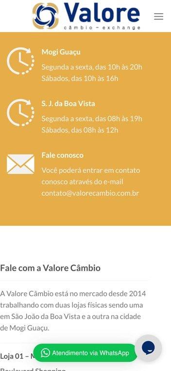 contato valore cambio mobile